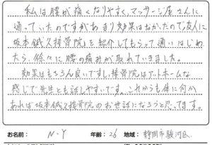 腰痛の患者様の声静岡市駿河区20代